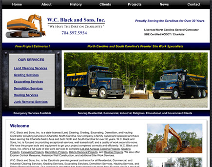 W.C. Black and Sons, Inc. - Demolition, Excavating, Grading, Land Clearing, and Hauling Services in Charlotte, North Carolina